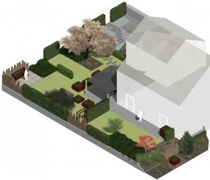 3D Modell, John Garten+landschaft